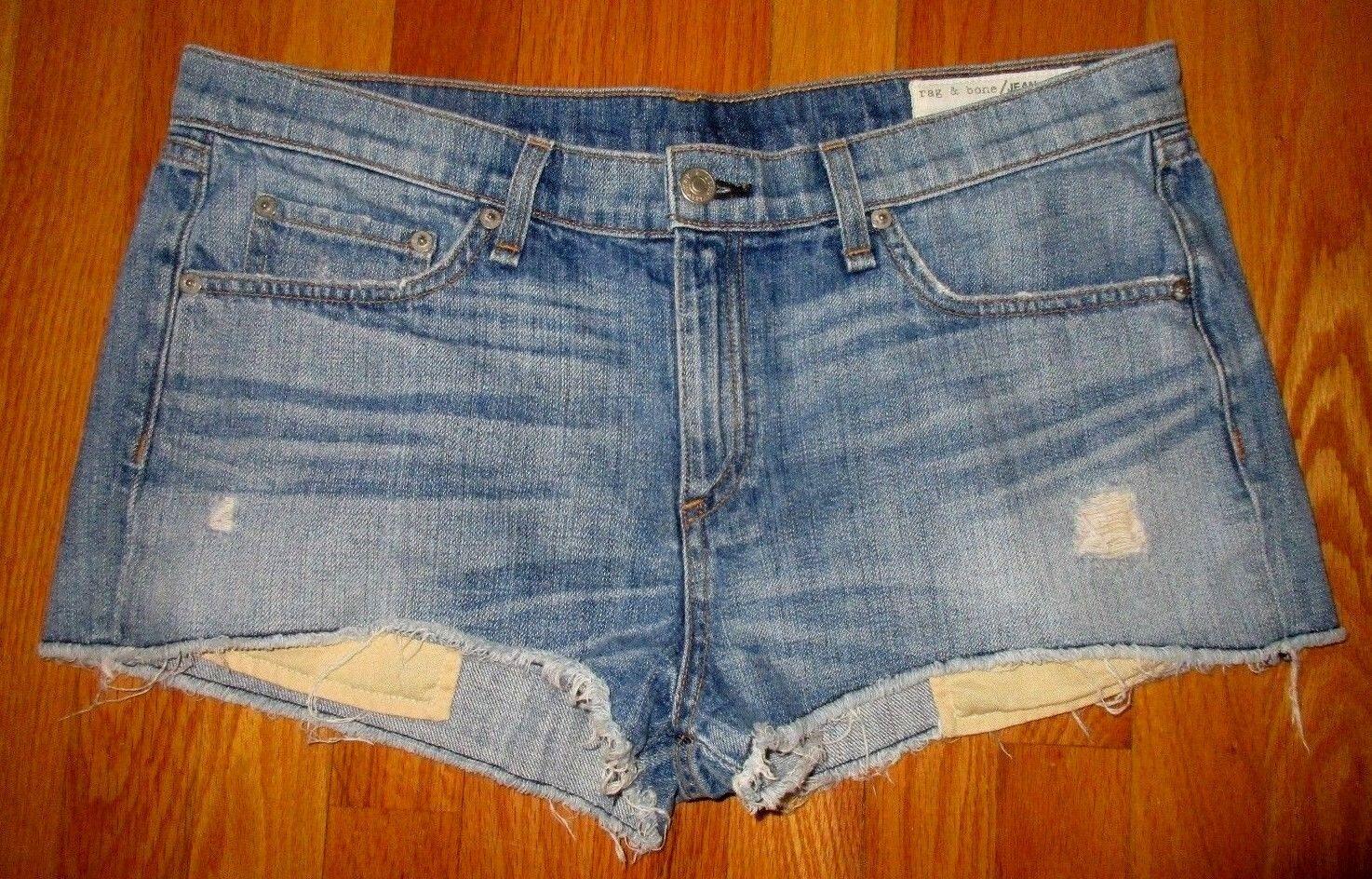 Rag & Bone Mila Distressed Destroy Denim Cut Off Jean Shorts Moss Size 31