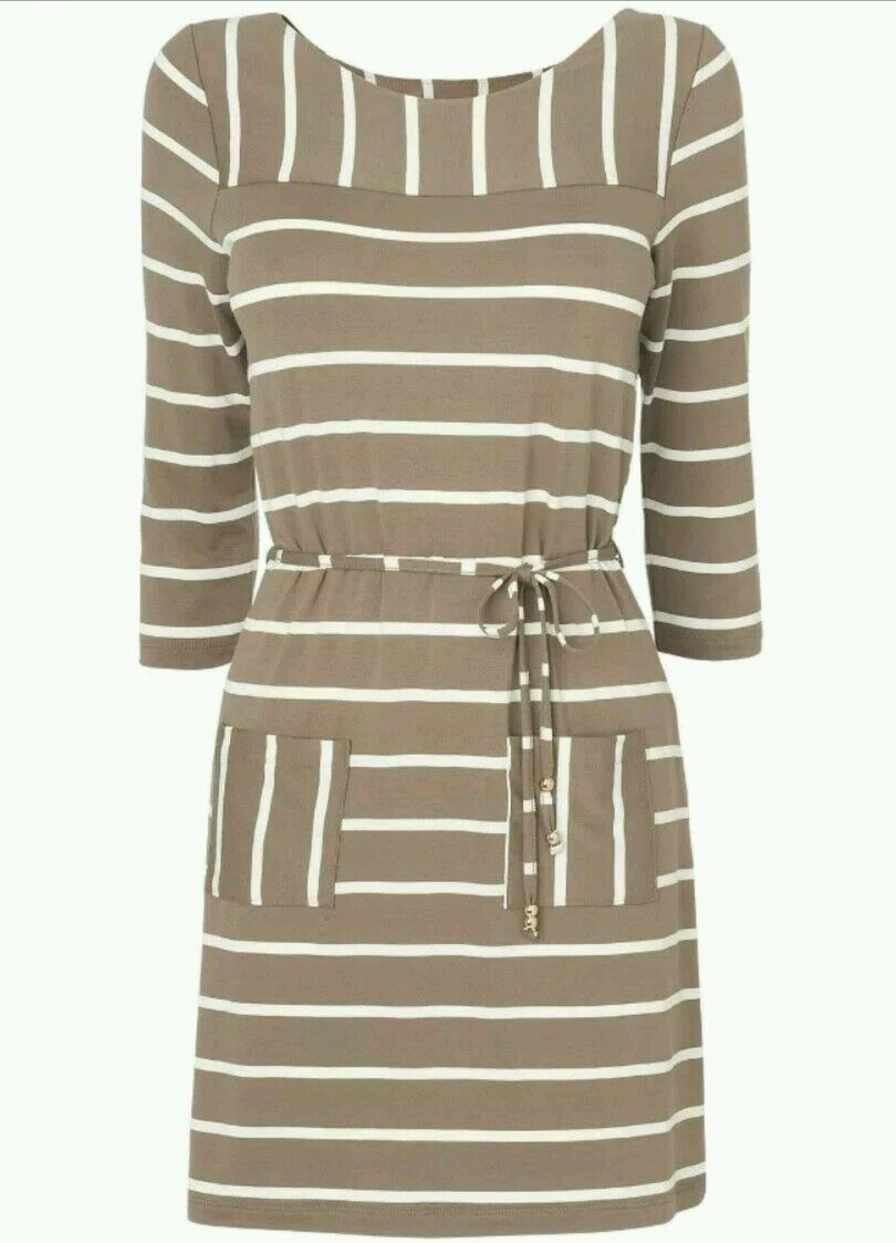 Fab PHASE EIGHT Taupe White 'Cindy' Stripe Dress, Size 12
