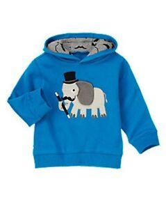 NWT Gymboree Boys Sweatshirt Jacket Toddler Blue Hoodie Hooded 2T,3T,14
