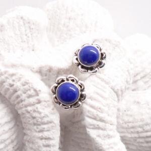 Mondstein weiß rund Blüte Design Ohrringe Ohrstecker 925 Sterling Silber neu