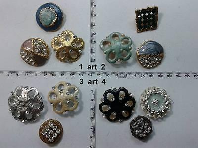 1 lotto bottoni gioiello smalti pietre blu murrine buttons boutons vintage g2