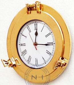 Vintage-Marine-Brass-Ship-Porthole-Clock-10-039-039-Ship-Window-Wall-Hanging-Clock