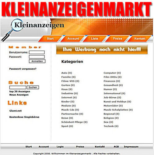 ★KLEINANZEIGENMARKT PROFI PHP-PORTAL SCRIPT BANNER WEBSITE KLEINANZEIGEN MRR TOP