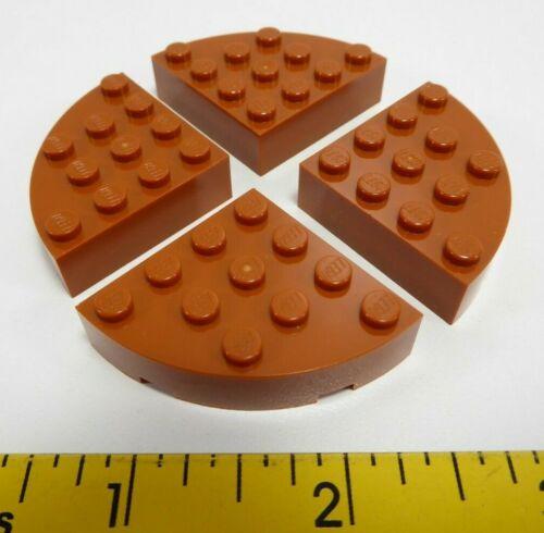 4x Lego Round Corner 4 x 4 Full Brick Dark Orange