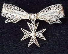 Antiguo de colección de joyería impresionante Barra De Filigrana De Plata Cruz De Malta Broche Pin