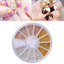 0.8-1.3 mm 3D Nail Art Deco Gold/Silver/Rose Gold Metal Materials Beads Wheel