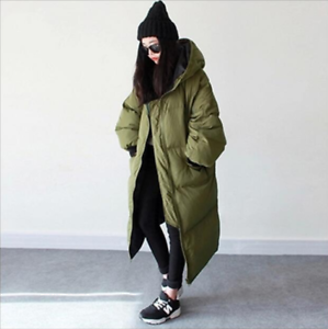Womens Fashion Outwear Parka Hooded Loose Oversize Casual Long Down Coats Winter