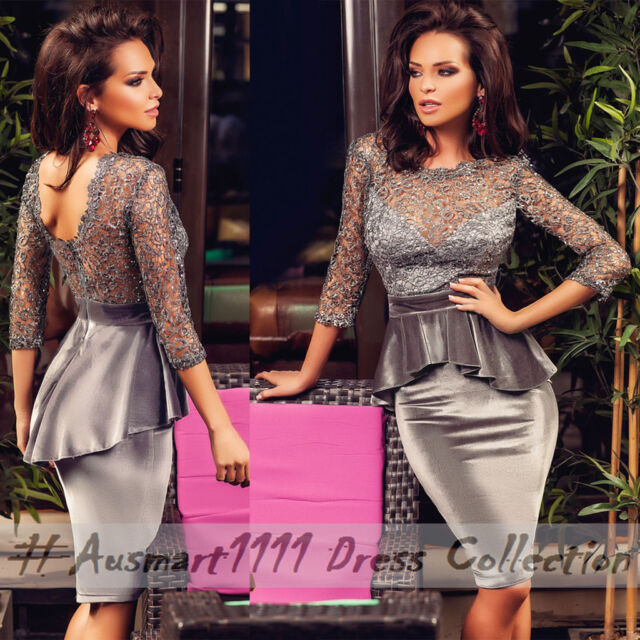 Velvet Grey 3/4 Sleeve Floral Lace Formal Office Cocktail Wear Peplum Dress