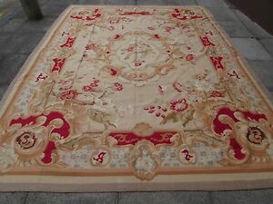 Old-Hand-Made-French-Design-Wool-12x9-Red-Pink-Original-Aubusson-347X272cm