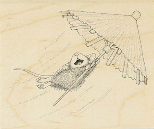 Umbrella Ride HOUSE MOUSE Wood Mounted Rubber Stamp STAMPENDOUS HMV30 New