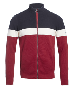 Teddy-Smith-griko-Full-Zip-Jacke-Navy-Rot-Weiss-Herren-Groesse-UK-M-ref139