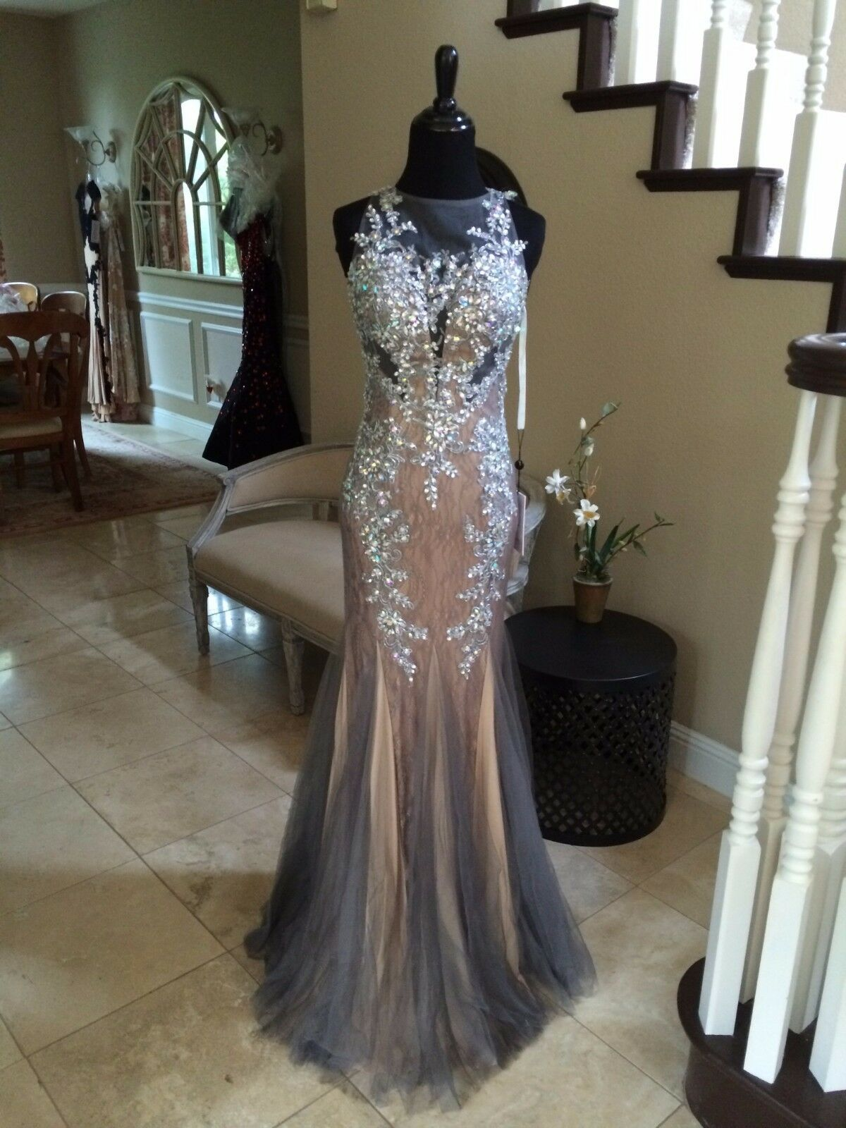 398 NWT GUNMETAL JVN BY JOVANI PROM PROM PROM PAGEANT FORMAL DRESS GOWN SIZE 2 f52cb1