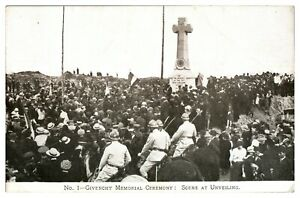 Antique-military-WW1-printed-postcard-Givenchy-Memorial-Ceremony-Unveiling