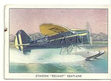 WWII 40s- Org Cigarette Card- NYC Police- Army Utility Airplane- Stinson Reliant