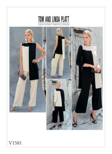 Vogue V1581 Tom /& Linda Platt patrón-extraña túnica y pantalones talla 6-22 BN