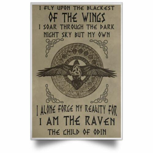 Viking God Odin Poster Son Of Viking Warrior Satin Portrait Poster Best Gift