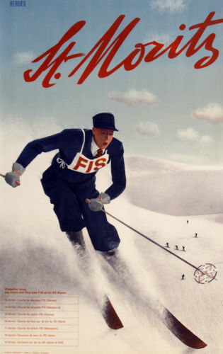 Vintage ST. MORITZ, FRANCE Skiing/Travel Poster A1A2A3A4Sizes