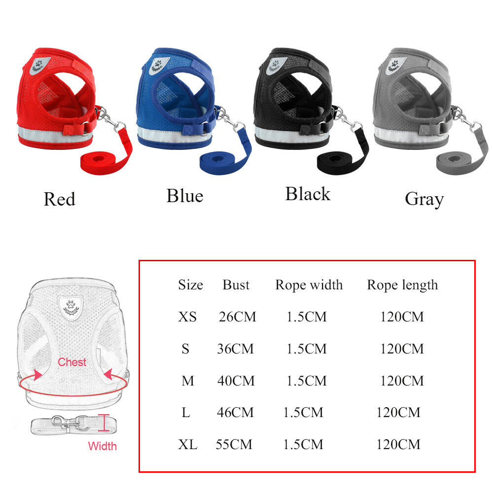 Dog Mesh Harness Pet Cat Harness Leash Set Walk Collar Safety Strap Vest 4