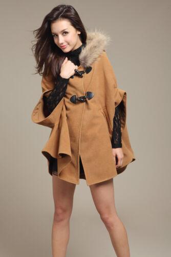 Winter Women's Hooded Poncho Cape Coat Warm Fur Shawl Wool Plus Jacket Cloak New