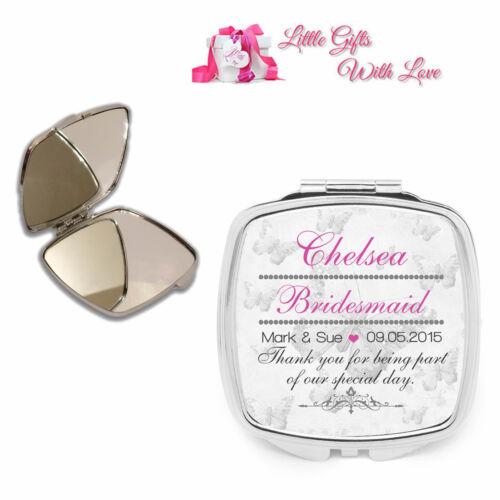 Personalised Bridesmaid Compact Mirror Wedding Favour Thank You Keepsake Gift
