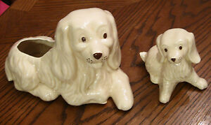 Cocker-Spaniel-Planter-Set-Retriever-Dog-Mother-amp-Puppy-Figurine-VTG-Pottery-LOT