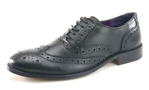 Frank James Mens Black Leather Lace Up Brogue Shoe - Talla 11 UK / 46 EU - Negro RZX81I
