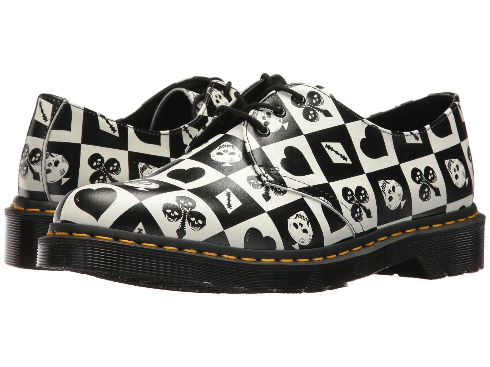 Dr. Martens Women's 1461 Egret Playing Card Print Repeat Backhand ALL SIZES
