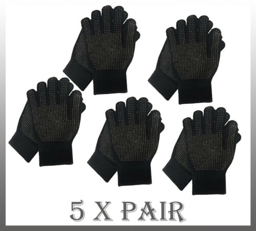 Pair Magic GLOVES With Grip Adult Unisex Black THERMAL MAGIC WINTER GLOVES