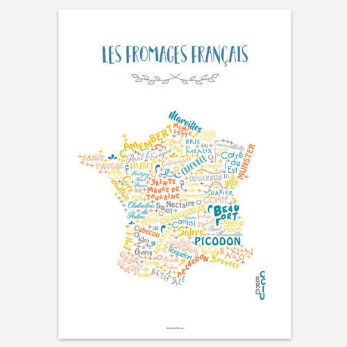 Affiche Les fromages français