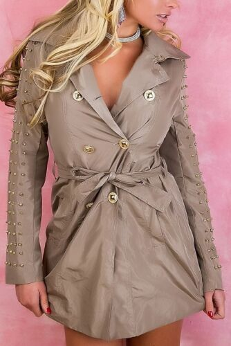 TRENCH COAT MILITARY GIACCA CAPPOTTO BEIGE CORALLO SALMONE killer-borchie maniche cintura