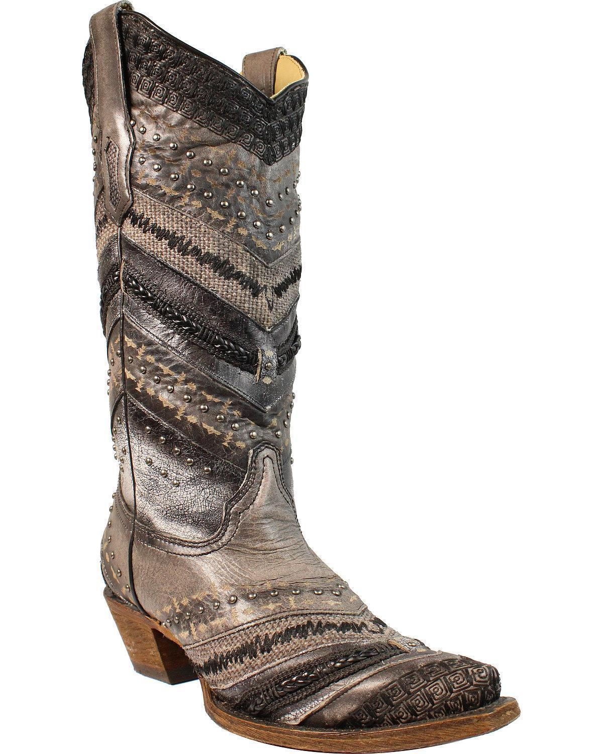 Corral Women's Embroidery And And And Stud Accent Boot Snip Toe - A3355 28ae52