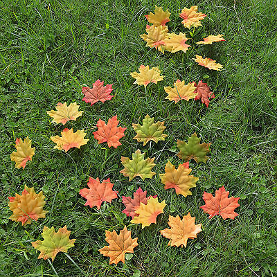 100 pcs 5 colors Fall Silk Leaves Wedding Favor Autumn Maple Leaf Decorations