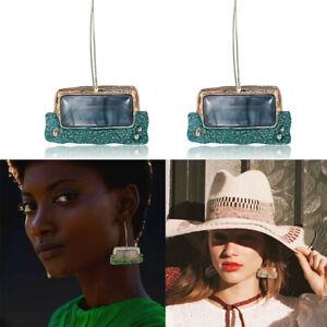 Women-Natural-Stone-Pendant-Statement-Party-Dangle-Drop-Ear-Earrings-Jewelry