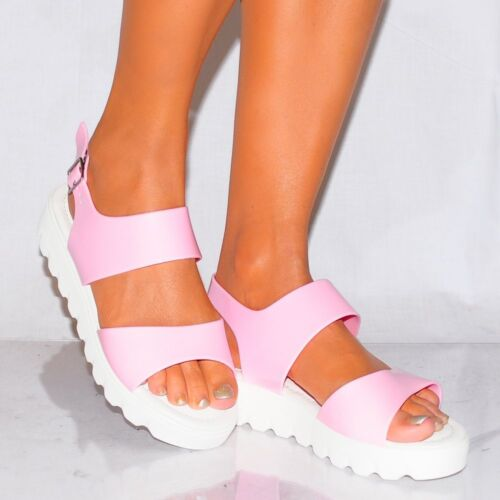 LADIES BABY PINK OPEN TOE STRAPPY WHITE SOLE CLEATED PLATFORMS WEDGE SANDALS