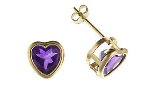 Amethyst-Heart-Earrings-Yellow-Gold-Stud-Solid-9-Carat-Studs-Natural-Stones