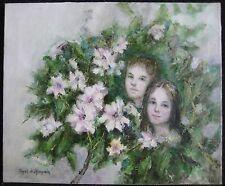 V. Chopak De Champlain American Impressionist Oil Portrait Siblings Hibel Manner