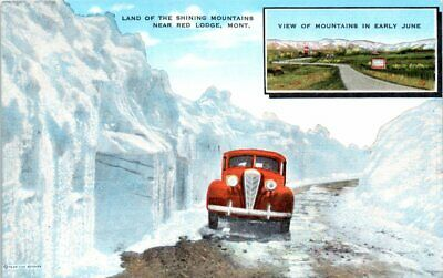 1940s Montana Postcard Hwy 12 Red Lodge Mt Old Car Snow Beartooth Unposted Ebay