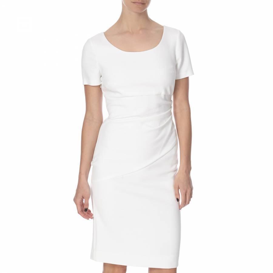 DIANE VON FURSTENBERG Bevina Body Contouring Weiß Ruched Pencil Dress 10