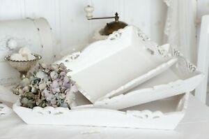 Details zu Tablett Serviertablett Holztablett Küche Shabby Chic Landhaus  groß
