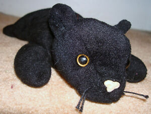 1995 ORIGINAL 1st Gen TAG TY Beanie Baby VELVET Black Panther CAT ... 70638191d224