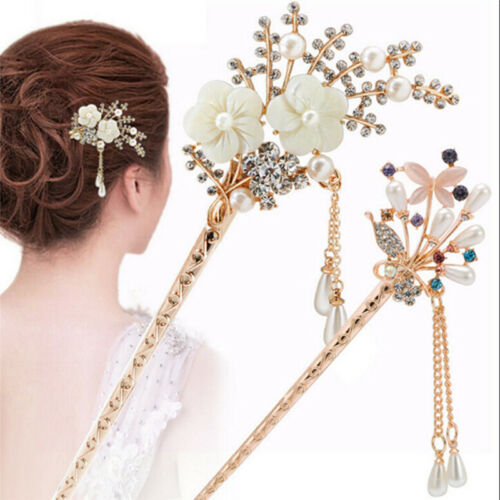 Frauen elegant Blume Hochzeit Haar Nadel bunte Haarnadel Strass Haar-Stick