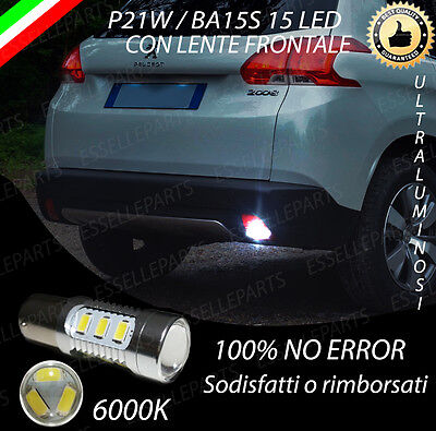 LAMPADA RETROMARCIA 15 LED P21W BA15S CANBUS PEUGEOT 2008 NO AVARIA 6000K