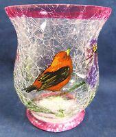Votive Candle Holder Hand Painted Crackle Glass Home Decor Orange Bird (C)