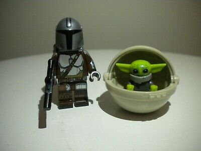 The Mandalorian with Baby Yoda minifigure with POD compatible w// LEGO USA Seller