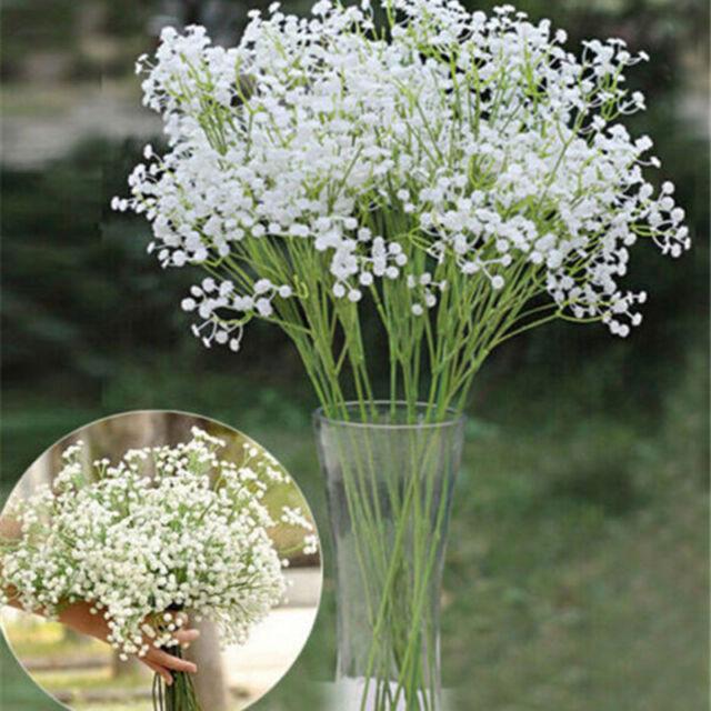 5 Kopf Kunstpflanze Kunstblume Schleierkraut Künstliche Blumen Seidenblumen  DE