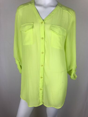 Chicos 2 Tunic Neon Button Sheer Green Size Blouse Yellow Front rqHzrngO