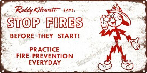 "Reddy Kilowatt Stop Fires Before Start Fire Prevention Metal Sign 6x12/"" A407"