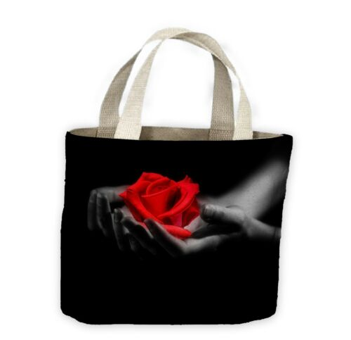 Red Rose in Hands Tote Shopping Bag For Life Floral Flowers Roses