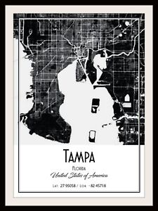 Details about TAMPA CITY MAP POSTER PRINT MODERN CONTEMPORARY TRAVEL on sandcastle water park map, metro atlanta map, d.c. metro map,