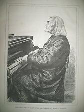 FRANZ LITZ AU PIANO PARIS EN OMNIBUS NORMANDIE POUR LA MESSE GRAVURES 1886